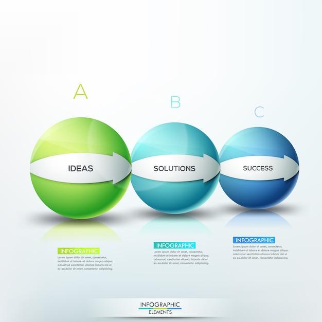 Современная инфографика, 3 буквенных сферических элемента разного размера со стрелками Premium векторы