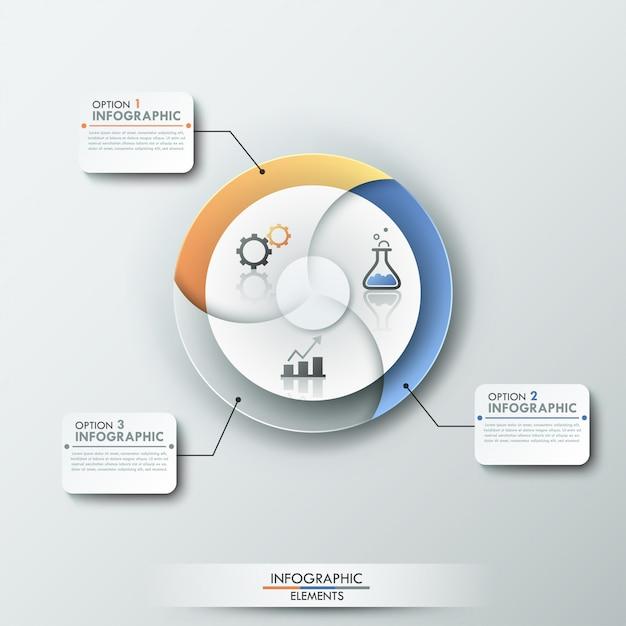 Современный инфографический баннер с 3-элементной круговой диаграммой Premium векторы