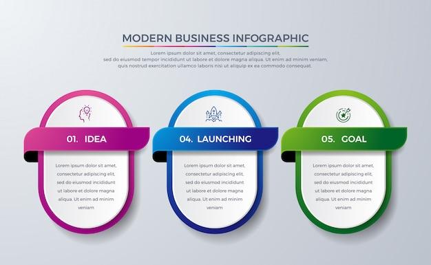 Современный инфографический дизайн с 3 процессами или шагами. Premium векторы