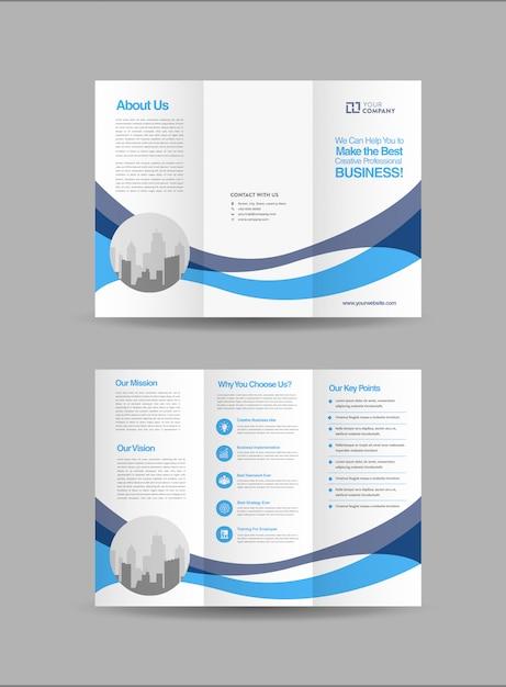 ビジネス3つ折りパンフレットテンプレート Premiumベクター