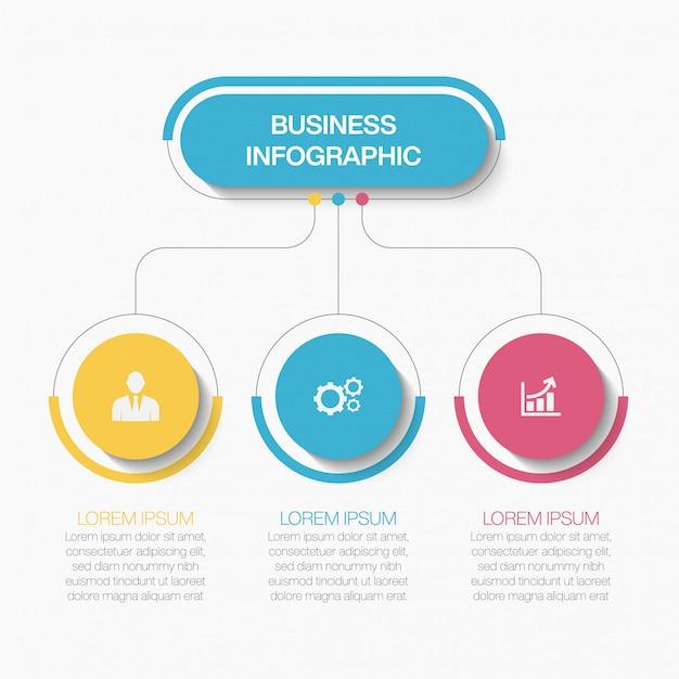 3つのオプションを持つプレゼンテーションビジネスインフォグラフィックテンプレート Premiumベクター