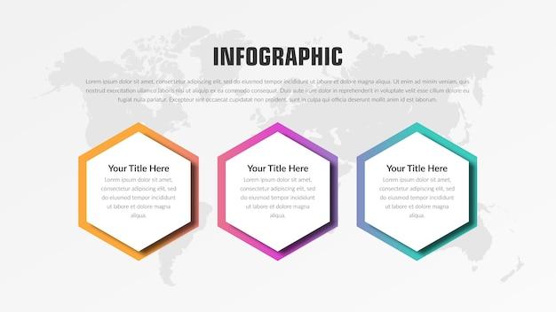 3ポイントの抽象的なインフォグラフィック要素のビジネス戦略 Premiumベクター