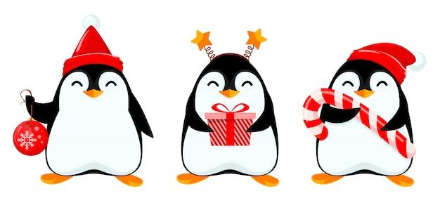 かわいい小さなペンギン、3つのポーズのセット Premiumベクター