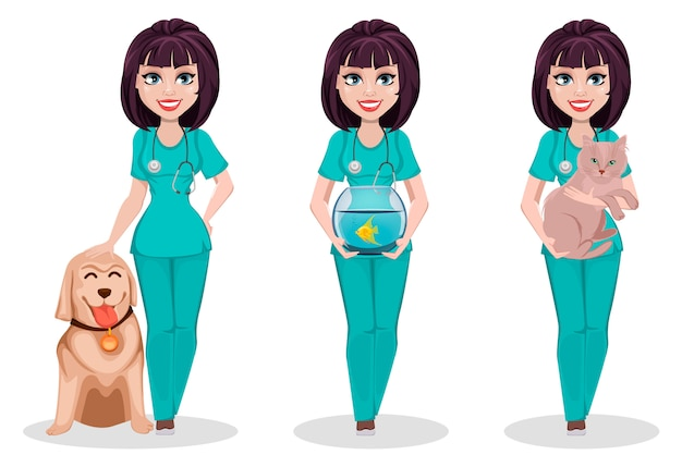獣医師の女性、3つのポーズのセット Premiumベクター