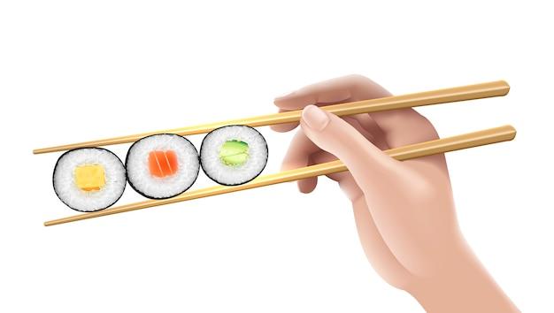 3寿司イラストを持っている手。 Premiumベクター