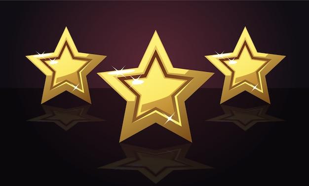 ゴールデン3つ星の評価 Premiumベクター