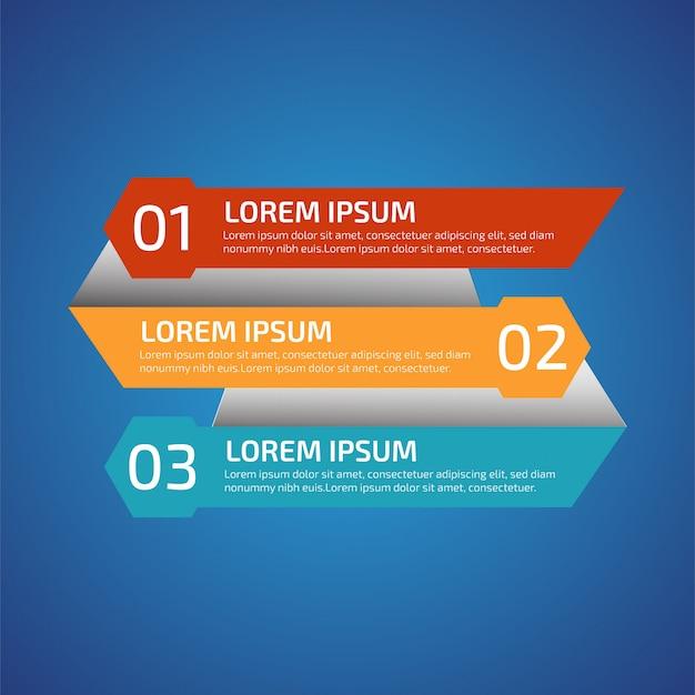 3つの異なる色のインフォグラフィックデザイン要素 Premiumベクター