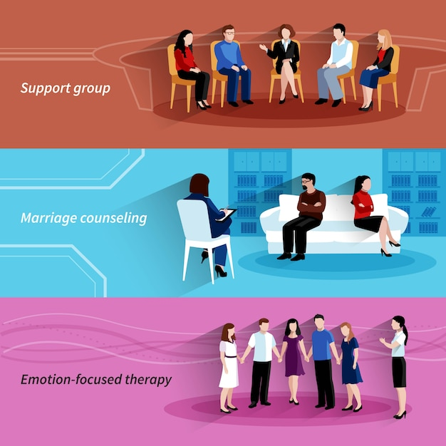 Консультирование по вопросам брака и отношений с групповой терапией поддержки 3 плоских горизонтальных баннера набор абстрактных изолированных векторные иллюстрации Бесплатные векторы