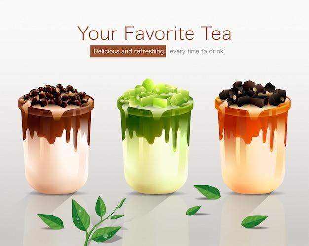 3つの美味しいフレーバーでお気に入りのお茶 Premiumベクター