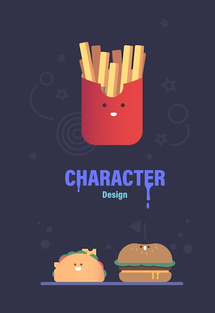 ファーストフードのキャラクターデザイン。 3かわいいベクトル文字。ファーストフードのベクトル図 Premiumベクター