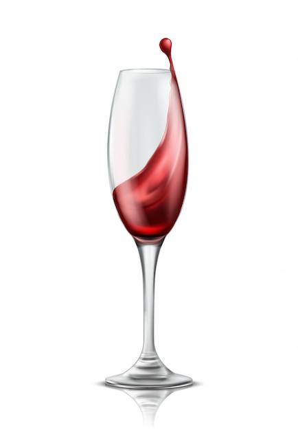 赤ワイン、3d現実的なイラストのスプラッシュと1つのワイングラス 無料ベクター