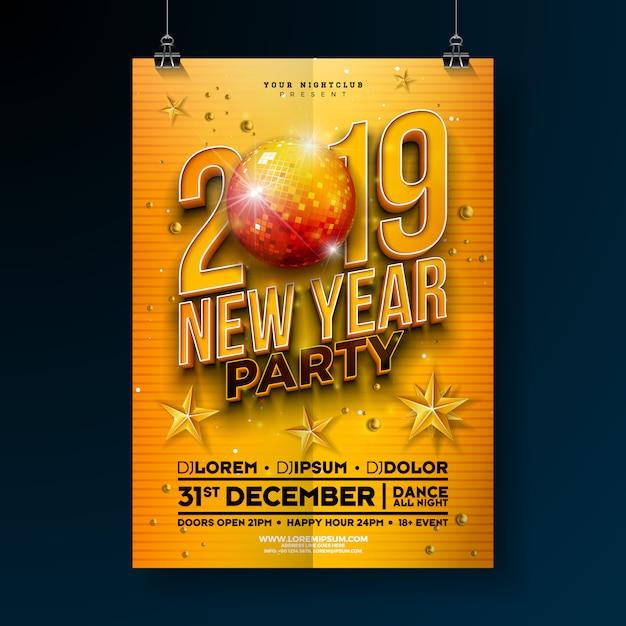 新年パーティーポスターテンプレート、3d 2019番号 Premiumベクター