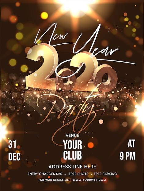 ブラウンボケ照明効果の背景に3dゴールデン2020テキストとイベントの詳細と新年パーティーのフライヤーデザイン。 Premiumベクター