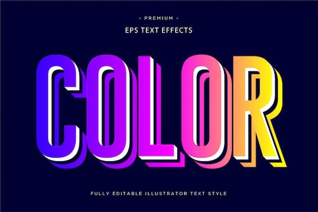 Цвет 3d текстовый эффект 3d стиль текста Premium векторы