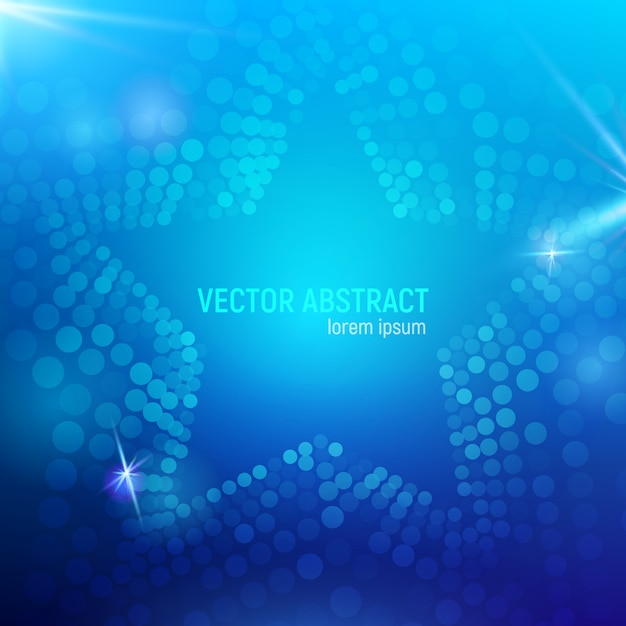 3d abstract blue mesh star background with circles, lens flares and glowing reflections. bokeh effect. Premium Vector