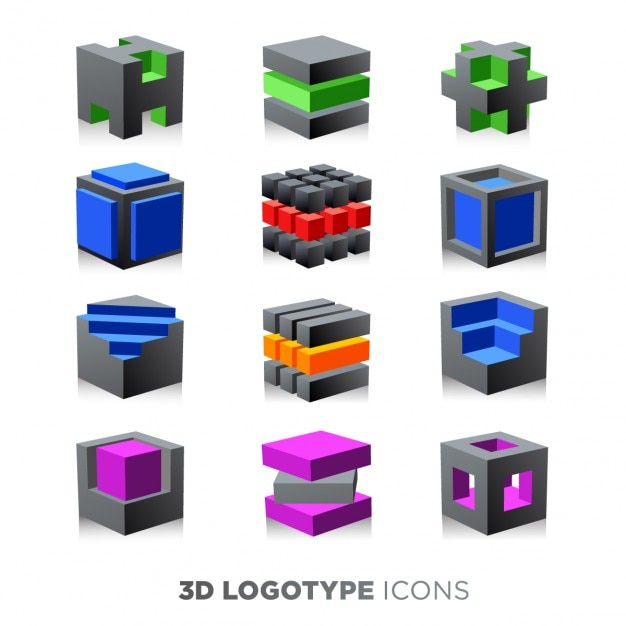 3d abstract cube logotypes set Free Vector