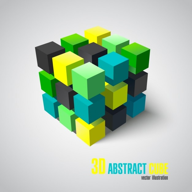 3d abstract cube Free Vector