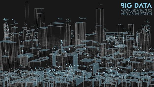 큰 데이터의 3d 추상 도시 재무 구조 분석 무료 벡터