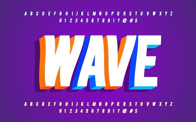 3d алфавит с волновым эффектом Premium векторы