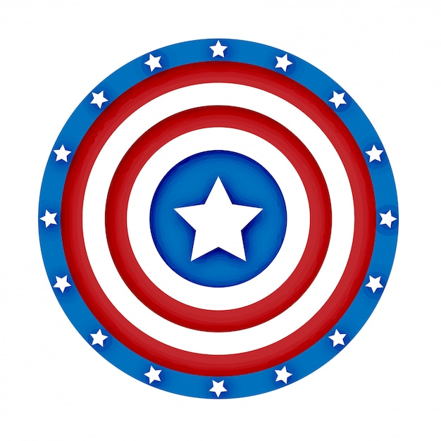 3d american shield vector illustration Premium Vector