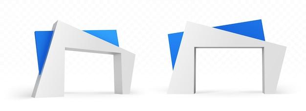 현대 건축 디자인의 3d 아치, 추상 각도 파란색과 흰색 건물, 외부 또는 내부 전면 및 측면보기를위한 게이트 건설 무료 벡터