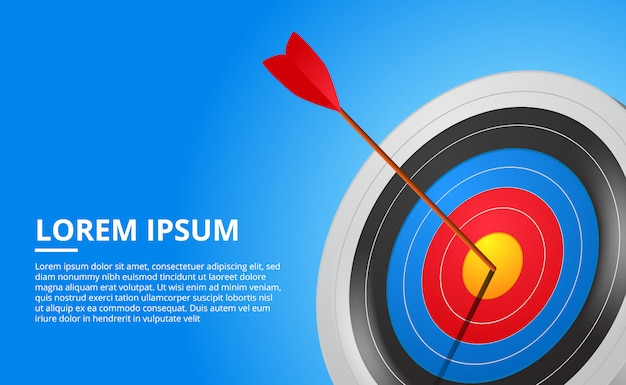 3d archery target and arrow sport game. business success targeting Premium Vector