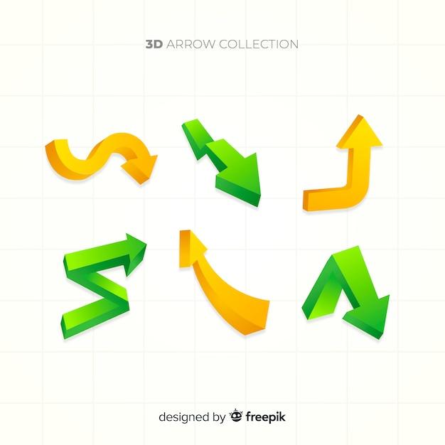 3d arrow collection Free Vector