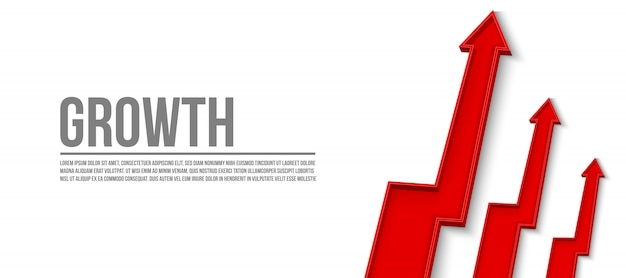 3d arrow financial growth, graphic grow banner template Premium Vector
