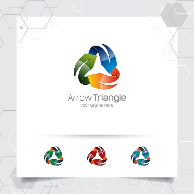 3d arrow logo vector design with concept of colorful modern style for digital business Premium Vector