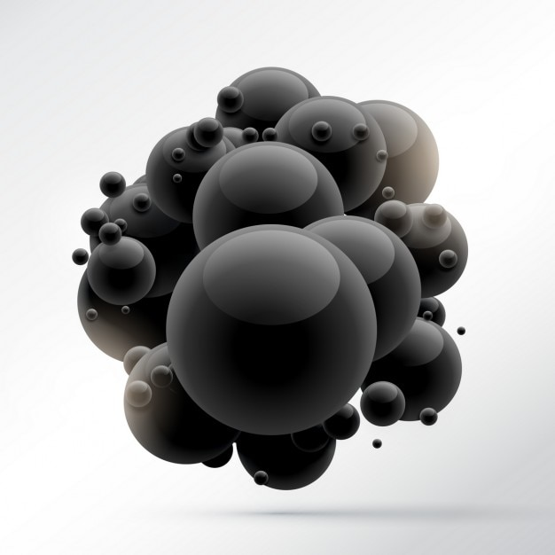 3d background with black spheres Free Vector