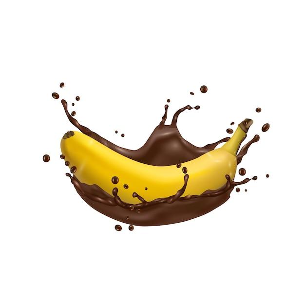 Premium Vector | 3d banana and chocolate splash, vector icon