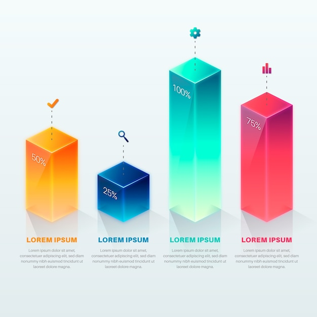 3d bars colorful template infographic Free Vector