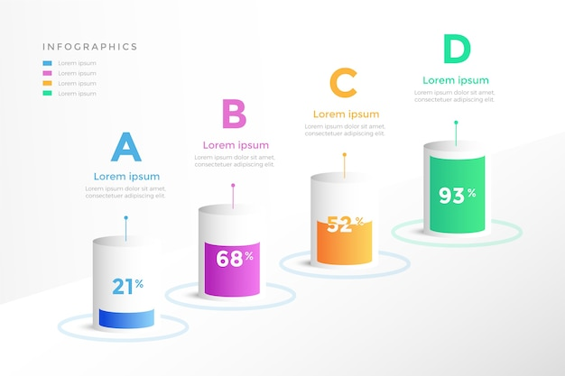 3d bars infographic concept Free Vector