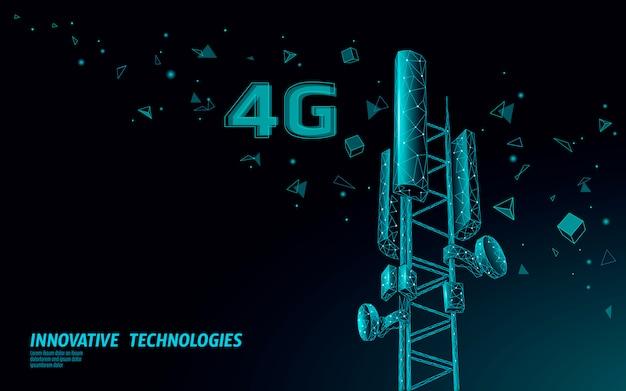 3d基地局受信機。通信塔4 g多角形デザイングローバル接続情報送信機。 Premiumベクター