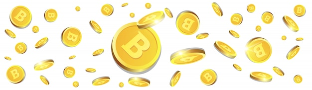 3d bitcoins golden coins flying over white background cryptocurrency concept horizontal banner Premium Vector