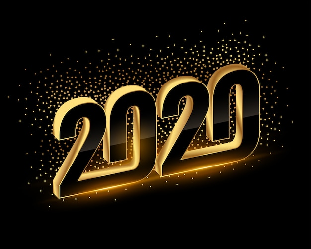3d black and gold happy new year 2020 background Free Vector