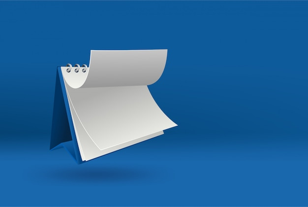 3d blank calendar template with open cover on blue  with soft shadows. Premium Vector
