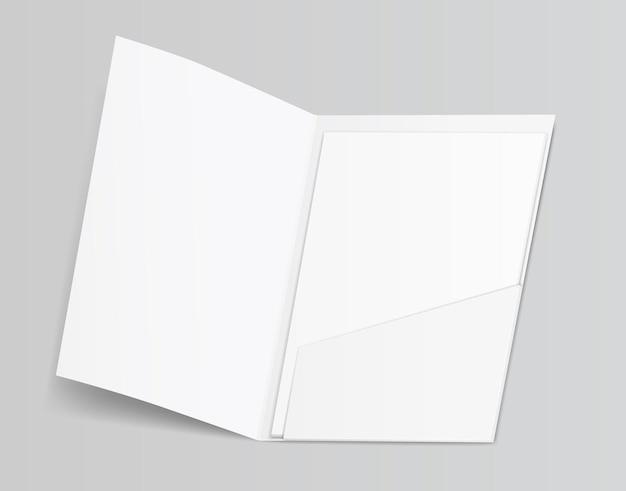 3d空白のきれいな白いフォルダー紙シートイラスト Premiumベクター