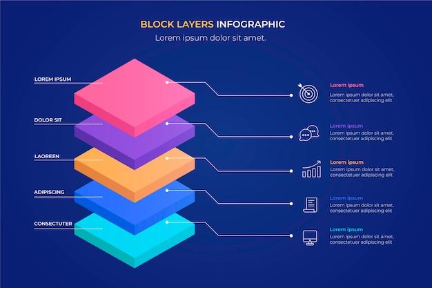 3d 블록 레이어 infographic 템플릿 무료 벡터