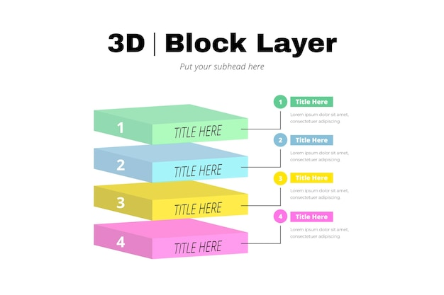 3 dブロックレイヤーインフォグラフィック 無料ベクター