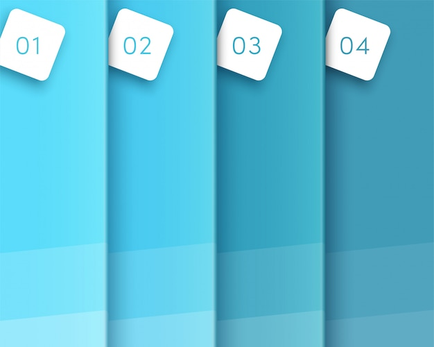3d blue vertical text space template steps one to four Premium Vector