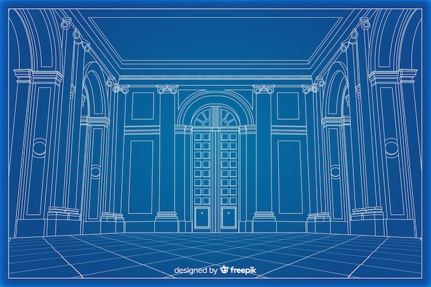 3d blueprint arhitectural of a building Free Vector