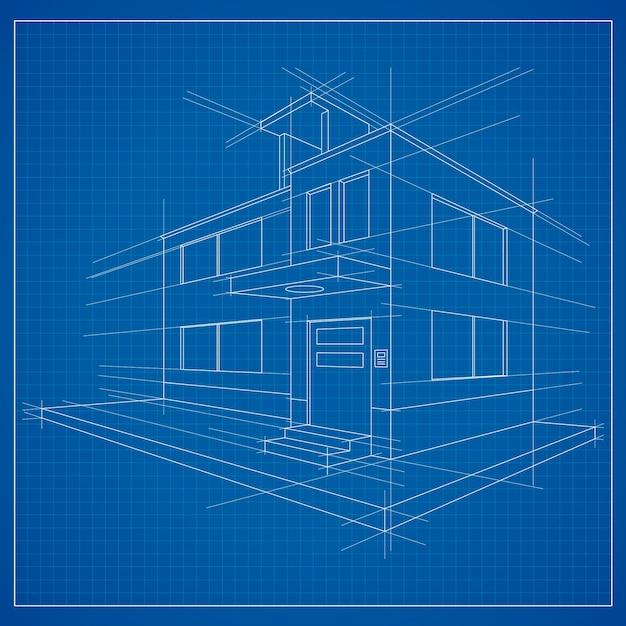 3d blueprint of a building Free Vector