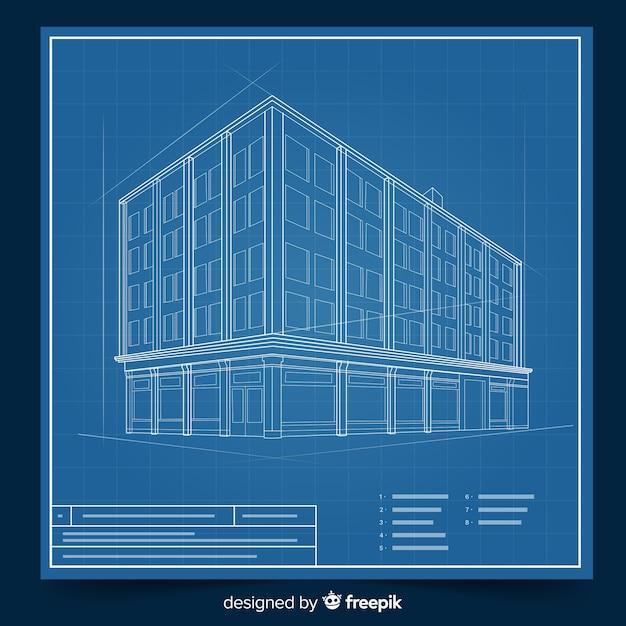 Проектирование зданий с концепцией 3d blueprint Бесплатные векторы