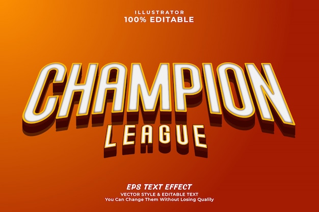 3d bold champion editable text effect style Premium Vector
