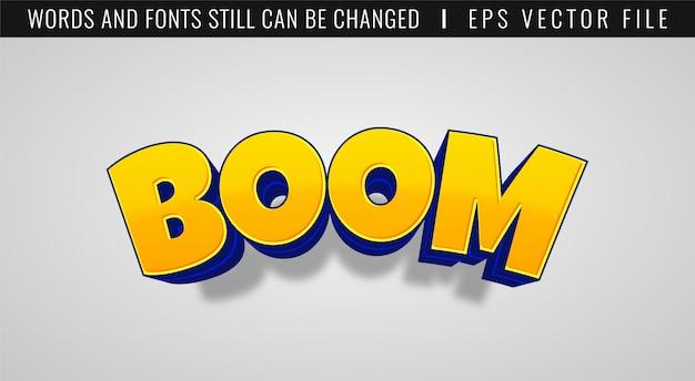 3d бум игры текстовый эффект. комический стиль Premium векторы