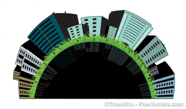 3d buildings on grass Free Vector