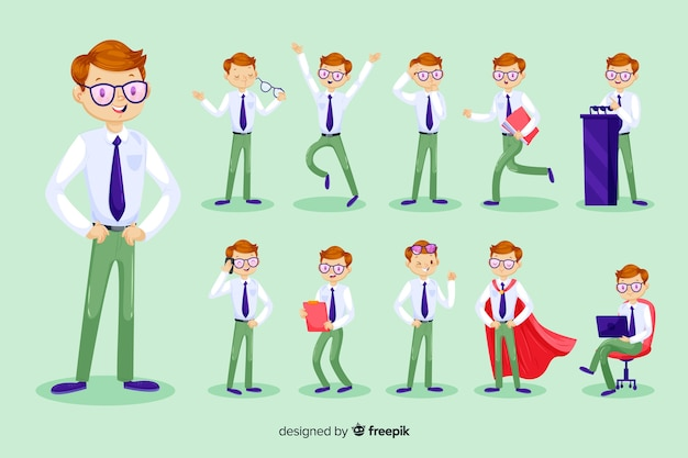 3d businessman character Free Vector
