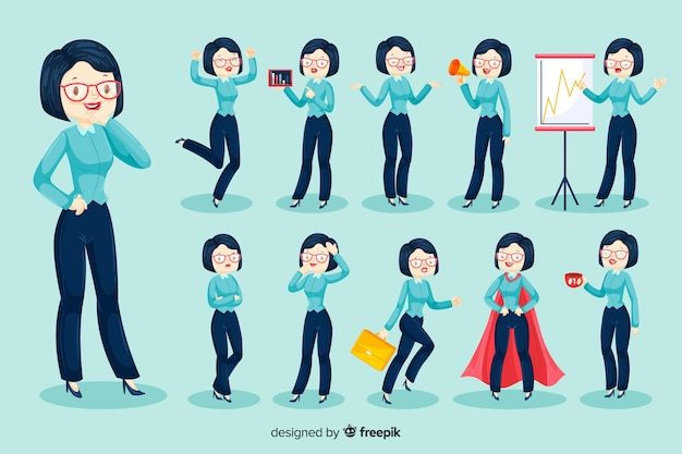 3d businesswoman character Free Vector