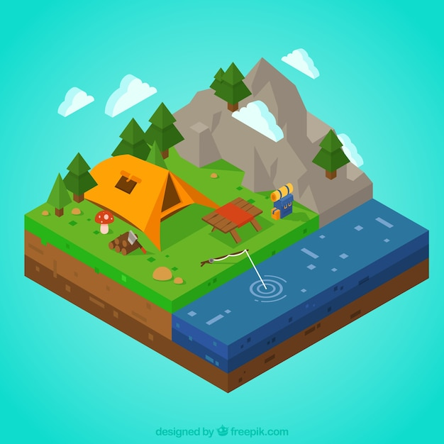 3d campsite with mountains and river